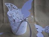 Farfalle carta perlata bianca taglio laser segnaposto personalizzabili