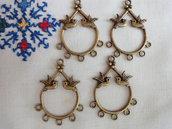 4 Connettori per orecchini con 2 colombi 36x27 mm. colore bronzo