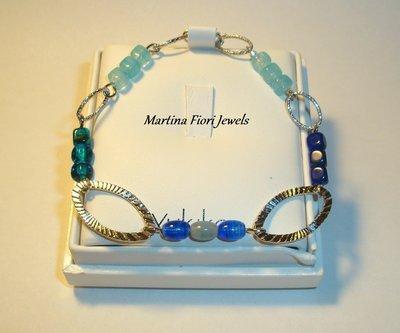Bracciale perle di vetro blu