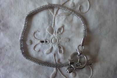 Bracciale base maglia tubolare per perle a foro largo color silver diametro 3 mm. lunghezza 20