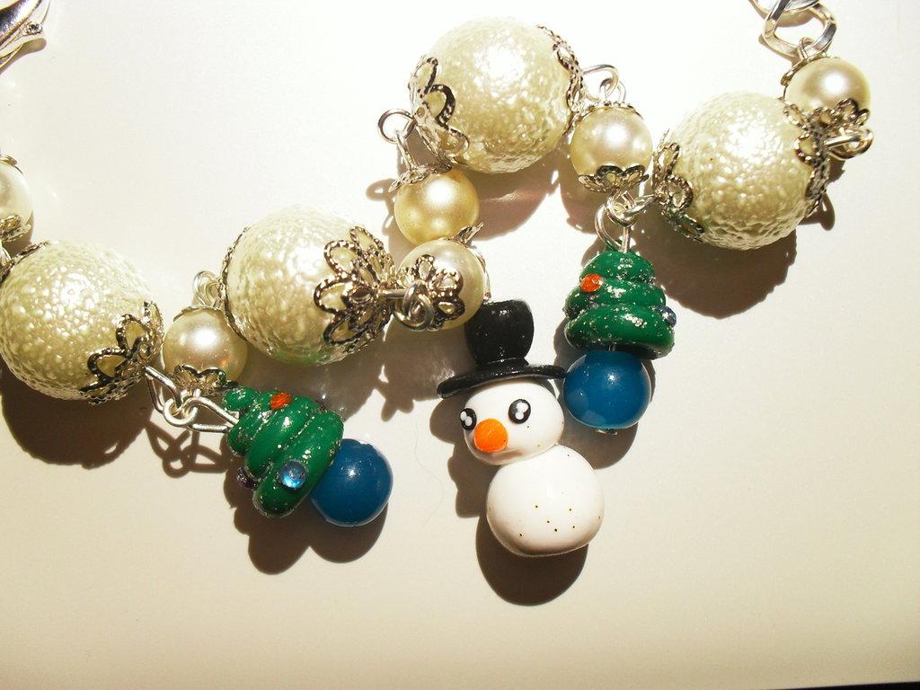 Bracciale pupazzo neve in fimo e cernit - Natale 2010
