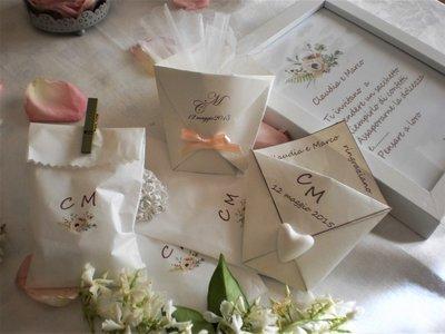 Presentazione confettata, segnagusti,bustine e sacchettini confettata,matrimoni, nozze,prima comunione,battesimo, nozze d'argento,compleanni