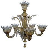Lampadario, in vetro soffiato di Murano, color TRASPARENTE