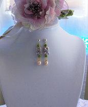 Orecchini pendenti in Silver con Prasiolite e Perle coltivate, 50 mm