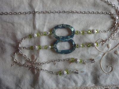 Collana per occhiali con perle filigrana e ovali tipo madreperla cm. 86