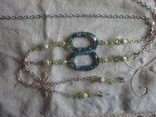 Catenina per occhiali con perle filigrana e ovali tipo madreperla cm. 86