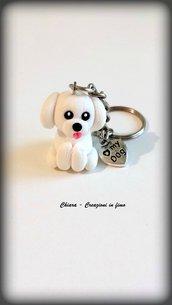 Portachiavi in fimo cane barboncino handmade kawaii miniature idee regalo natale