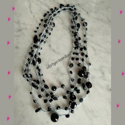 Collana lunga boho style uncinetto e perle di Bohemia