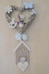 fiocco nascita celeste cuore legno vimini nome neonato bambino bimbo da incidere legno shabby chic
