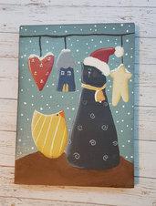 Decorazione natalizia dipinta a mano con gatto