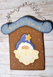Decorazione natalizia dipinta a mano con Babbo Natale