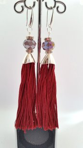 Orecchini Dangle Earring Bordeaux and Silver