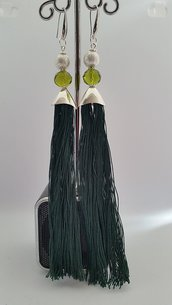 Orecchini Dangle Earring Green and Silver