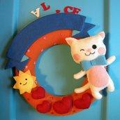 fiocco nascita - ghirlanda - MICIO BIANCO - birth wreath - kitten