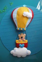 fiocco nascita- orsetto in mongolfiera - birth wreath - bear