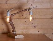 LAMPADA DI RAMO D'OLIVO CON LAMPADINE VINTAGE - ABAT-JOUR - LAMPADA DA TAVOLO DECORATIVA