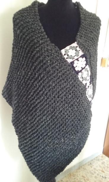 mantella donna lana maglia trecce