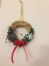 Ghirlanda Natalizia in midolino, fuoriporta Natalizio, idea regalo Natale