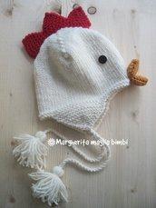 Berretto/cappello galletto pura lana merino - fatto a mano - maglia - bambino