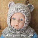 Berretto/cappello orsetto in pura lana merino fatto a mano - bambino 3 - 8 anni