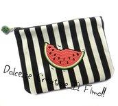 Borsellino- portamonete - portatrucchi -  handmade in stoffa a righe bianche e nere con fetta di anguria - frutta, idea regalo kawaii