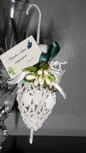 bomboniera-segnaposto ombrellino uncinetto matrimonio, prima comunione promessa di matrimonio