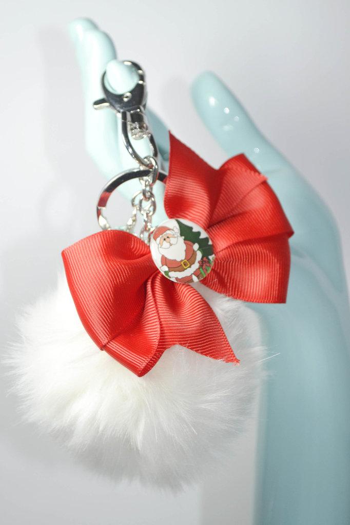 portachiavi donna accessori pon pon bianco con fiocco babbo natale idea regalo