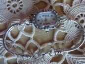 1 Orologio Ovale con 20 strass e bracciale cm.20,5 per perle foro largo