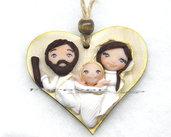Presepe Sacra Famiglia su cuore da appendere fimo Natale 2017 idea regalo