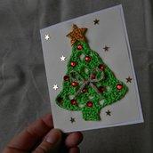 """Biglietto """"Tu scendi dalle stelle"""" • Albero di Natale a uncinetto"""