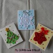"""Tris di biglietti """"Tu scendi dalle stelle"""" • Fiocco di neve + Albero di Natale + Stella"""