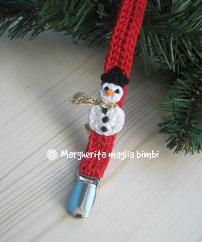 Portaciuccio pupazzo di neve, cotone, uncinetto, neonato/bambino, idea regalo Natale