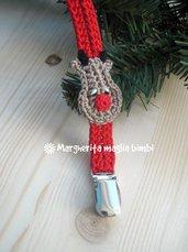 Portaciuccio renna, cotone, uncinetto, neonato/bambino, idea regalo Natale