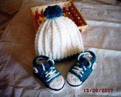 Scarpette e Cappellino in lana - mis. 0/3 mesi - suola 9 cm - lavorato ad uncinetto