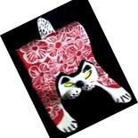 Gattino rosso di ceramica a fiori bianchi stilizzati, scultura porta cellulare soprammobile
