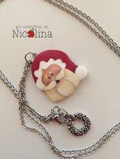 Collana lunga di Natale con Babbo Natale in cartapesta e ghirlanda in metallo