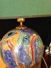"""Lampada di ceramica """"Gli alberi colorati """"decorata a mano."""