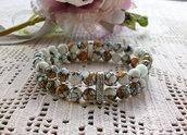 Bracciale fatto a mano, con perline di Turkey Turchese a doppio filo e con strass, 18 cm