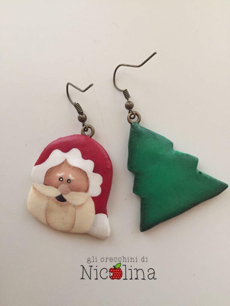 Orecchini di Natale Babbo Natale e Albero in cartapesta