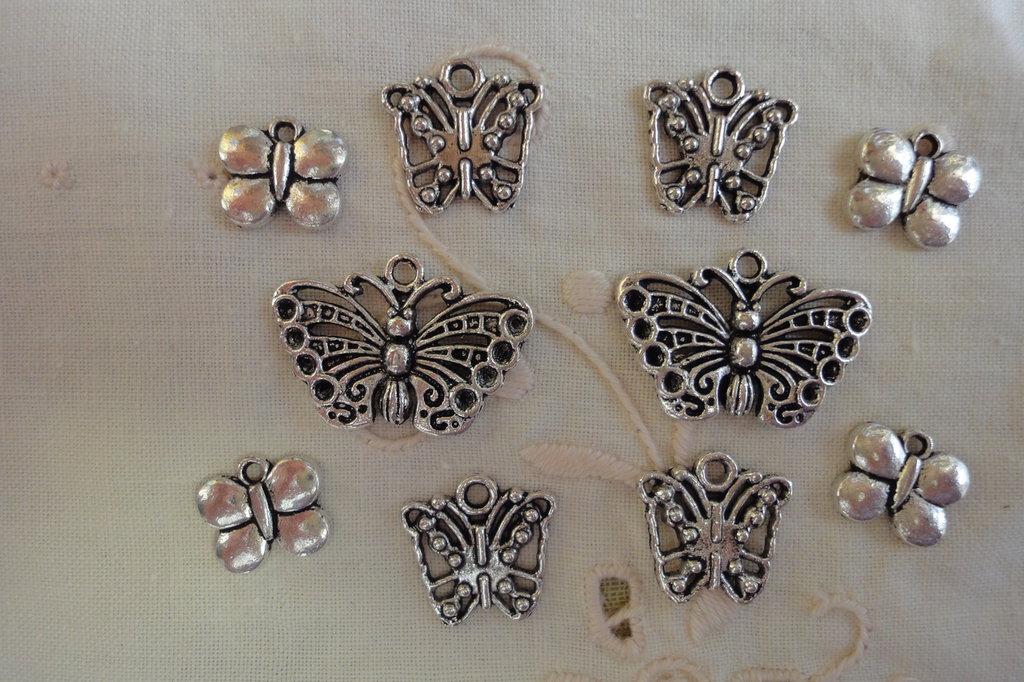 10 Farfalle in Metallo color argento