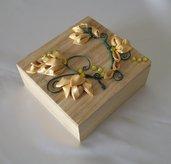 Cofanetto Scatola Portagioielli Porta Oggetti con decori color Oro