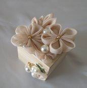 Cofanetto Scatola Portagioielli Porta Oggetti con decori floreali in tulle color cipria