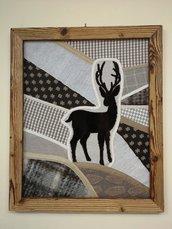 Quadro patchwork in lana con passamanerie , cervo applicato e cornice in legno riciclato, fatto a mano