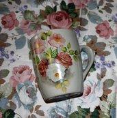 Tazza mug porcellana dipinto a mano con tovaglietta abbinata