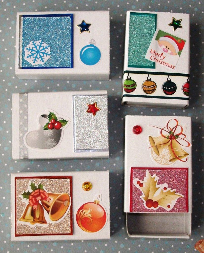 Scatoline decorate per Regali di Natale - Glitter Mix^^ - Scrapbooking&Packaging - Lotto (5pz)