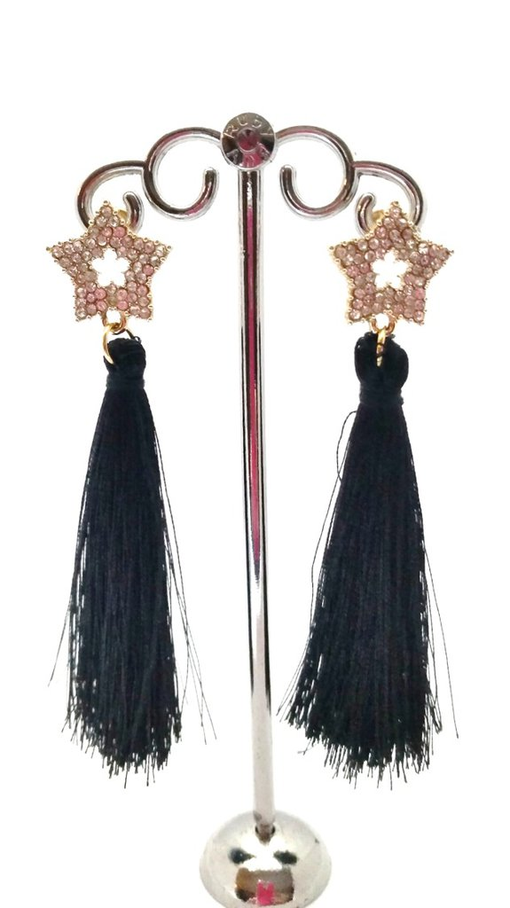 Orecchini Dangle Earring black and gold with star