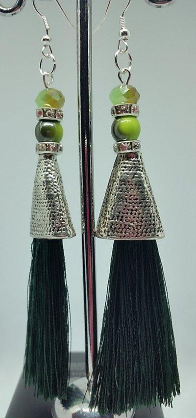 Orecchini Dangle Earring green and Silver