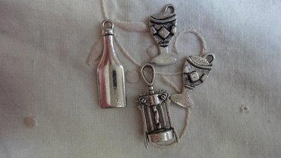 """4 Ciondoli """"Brindisi"""" in Metallo color argento"""