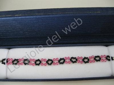 Bracciale Swarovski rosa e nero