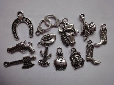 12 Ciondoli Cow Boy in Metallo color argento